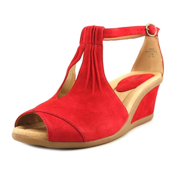 Earth Caper Women Open Toe Suede Red Wedge Sandal