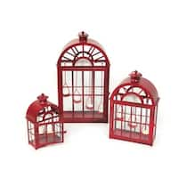 Set of 3 Eco Country Red Christmas Tea Light Candle Lanterns