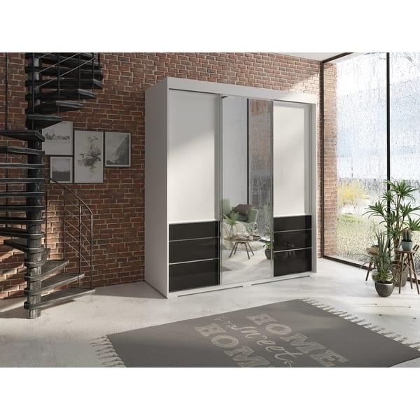 Shop Monaco 3 Door Modern 71 Wardrobe With Mirror Overstock 31809616