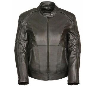 Womens Leather Jacket Stud / Wings Detail (Option: Purple)