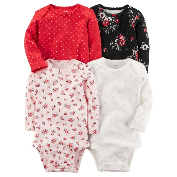 50ccc5148 Shop Carter's Baby Girls' 4-Pack Long-Sleeve Original Bodysuits, 6 Months -  Free Shipping On Orders Over $45 - Overstock - 20483601