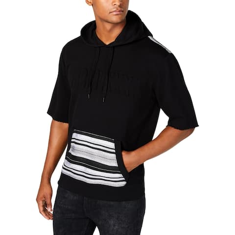 Guess Mens Hoodie French Terry Graphic - Jet Black Multi