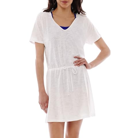 Speedo White Womens Large L Hooded V-Neck Swim Slub-Knit Cover-Up