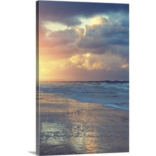 Premium Thick-Wrap Canvas entitled Coastline of the Atlantic Ocean at sunset (4 options available)