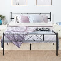 VECELO Metal Beds Mattress Foundation Platform Beds with Headboard and Footboard