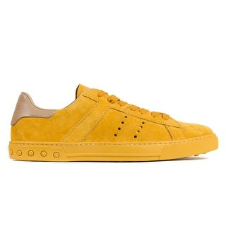 Tod's Men's Yellow Suede Low Top Lace Up Sneakers