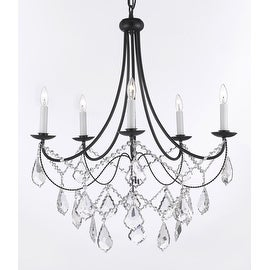 Spectra Trimmed Crystal Wrought Iron Chandelier Lighting *With Reliable* Crystal Quality By Swarovski H22.5 x W26