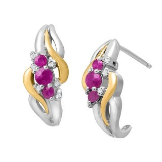 1/2 ct Ruby Half-Hoop Drop Earrings with Diamonds in Sterling Silver & 14K Yellow Gold - Red