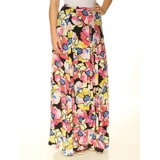Womens Pink Floral Full-Length Faux Wrap Skirt Size 2