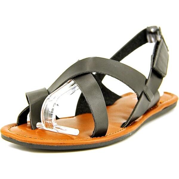 Mia Shore Women Open-Toe Synthetic Black Slingback Sandal