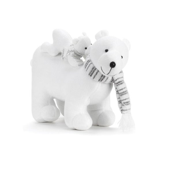 "14.5"" White Plush Polar Bear with Baby Bear on Back Christmas Table Top Decoration"