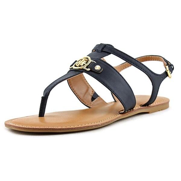 Tommy Hilfiger Lelah Women Open Toe Leather Blue Thong Sandal