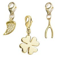 Julieta Jewelry Clover, Horn, Wishbone 14k Gold Over Sterling Silver Clip-On Charm Set