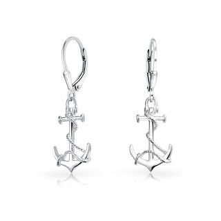Bling Jewelry Sterling Silver Nautical Anchor Rope Leverback Earrings