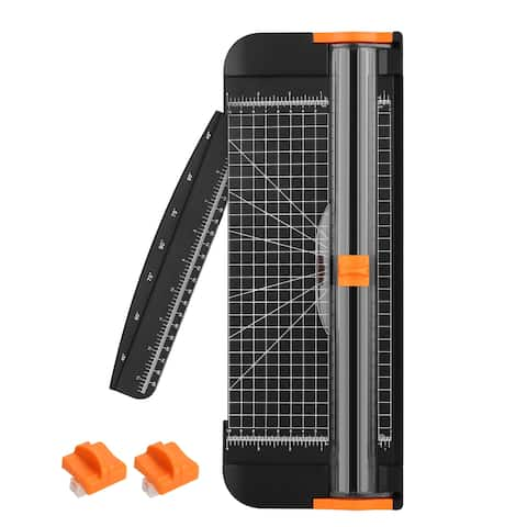"""AGPtek 12"""" A4 Paper Cutter Trimmer with Ruler and 2 Extra Blades, Automatic Security Safeguard for Home and Office - L"""