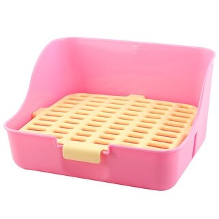 Indoor Plastic Rectangle Mesh Style Pet imitated rabbit Dog Cat Toilet Potty Yellow Pink