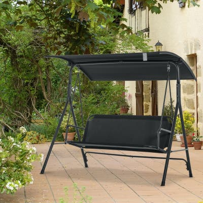 Outsunny 3-Person Porch Patio Swing with Adjustable Weather-Fighting Tilt Canopy & Comfortable Bench-Style Seat