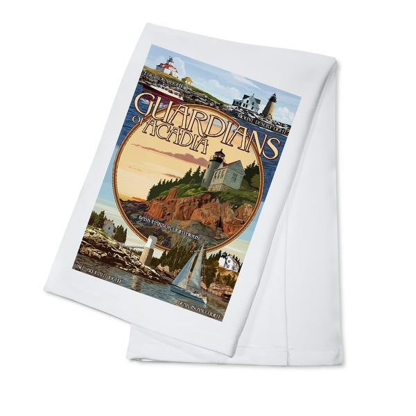 Acadia Park ME Guardians Lighthouses - LP Artwork (100% Cotton Towel Absorbent)