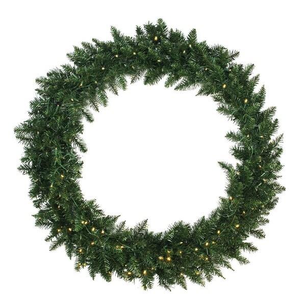 "48"" Pre-Lit Buffalo Fir Artificial Christmas Wreath - Warm White LED Lights"