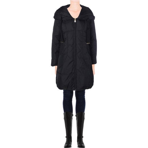 Tahari Womens Taryn Coat Hooded Smocked Sides