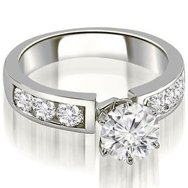 1.50 cttw. 14K White Gold Classic Channel Round Cut Diamond Engagement Ring