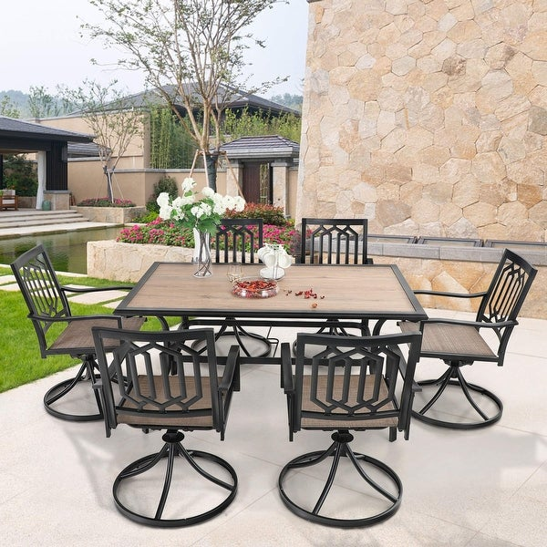 MFSTUDIO 7PCS Patio Dining Set, Large Rectangular Wood Like Top Table with 6 Textilene Fabric Swivel Chairs. Opens flyout.