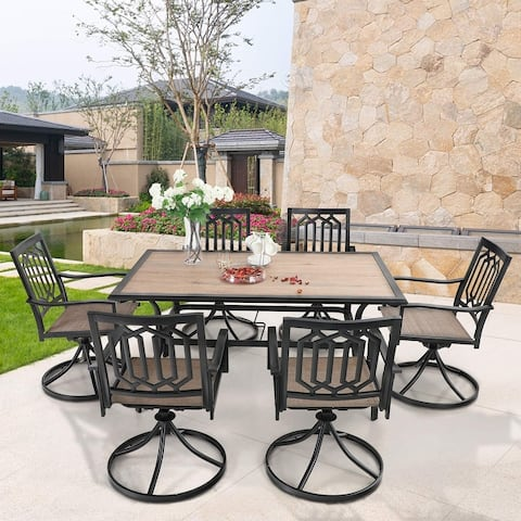 MFSTUDIO 7PCS Patio Dining Set, Large Rectangular Wood Like Top Table with 6 Textilene Fabric Swivel Chairs