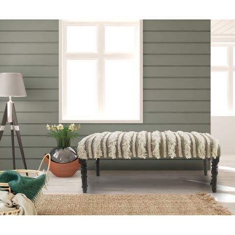 "LR Home Cream Tufted Indoor Bench - 3'11"" x 1'4"""