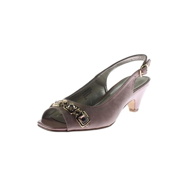 Karen Scott Womens Analese Slingback Heels Embellished Square Toe - 6 medium (b,m)