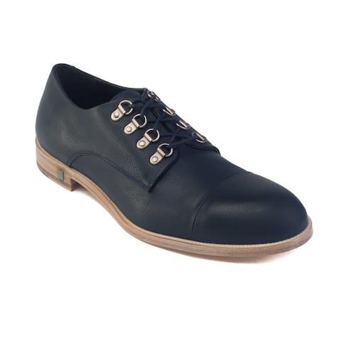 Versace Men's Leather Medusa Lace-up Oxford Dress Shoes Navy Blue