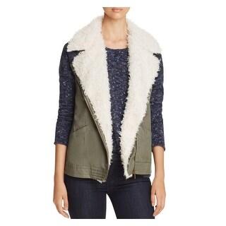 Sanctuary Womens Outerwear Vest Fleece Lined Zip Front