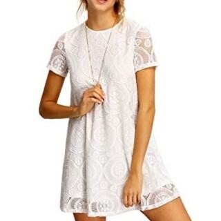 Women's Plain Short Sleeve Floral Summer Floral Lace Prom Party Shift Dress