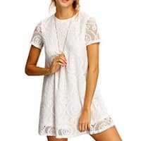 Women's Plain Short Sleeve Floral Summer Floral Lace Prom Party Shift Dress