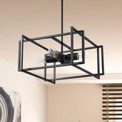 CO-Z Square Semi Flush Mount Light Fixture with Geometric Frame