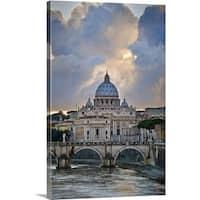 Premium Thick-Wrap Canvas entitled Arch bridge across Tiber River, Rome, Lazio, Italy