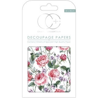 "Craft Consortium Decoupage Papers 13.75""X15.75"" 3/Pkg-Cottage Classic"