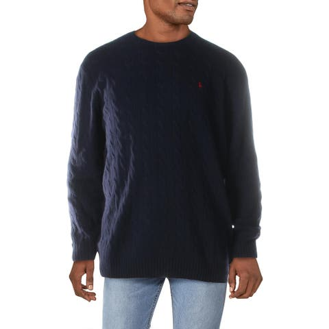 Polo Ralph Lauren Mens Big & Tall Sweater Wool Blend Cable Knit - Blue