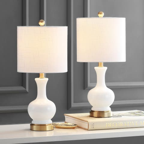 """Cox 22"""" Glass/Metal LED Table Lamp, White (Set of 2) by JONATHAN Y"""