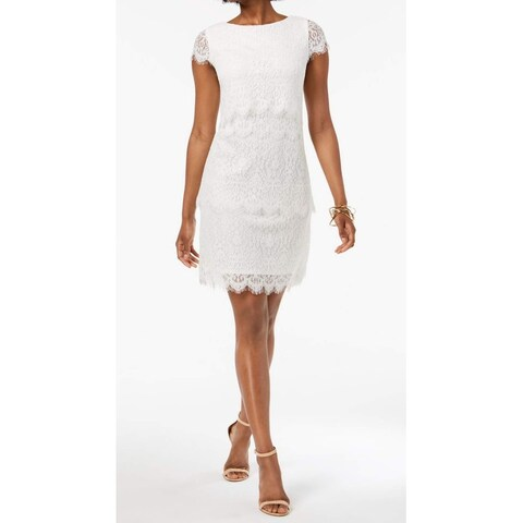 Donna Ricco White Womens Size 16 Lace Tiered Eyelash Hem Shift Dress