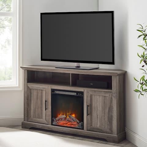 The Gray Barn Wind Gap Groove Door Corner Fireplace TV Stand