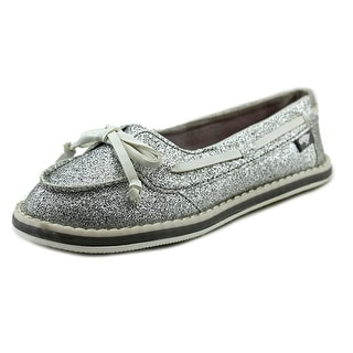 Rocket Dog Ranee Girls Youth Moc Toe Synthetic Silver Boat Shoe