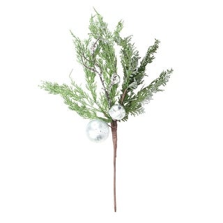"22"" Iced Cedar Artificial Christmas Spray with Silver Ornaments and Bells"