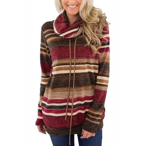 New Women's Sweater Loose Pile Of Collar Striped Long Sleeves