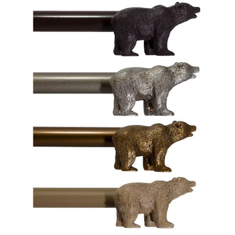 "Farmhouse Bear 3/4"" Curtain Rod Adjustable Designer Window Treatment Set"