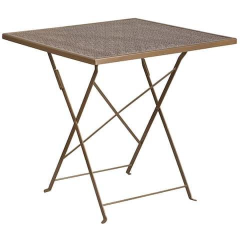 """28"""" Square Gold Indoor-Outdoor Steel Folding Patio Table - Home Furniture - 28""""W x 28""""D x 28""""H"""
