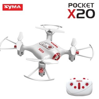 Syma X20 Pocket Drone 2.4Ghz Mini RC Quadcopter Headless Mode Altitude Hold White/Black