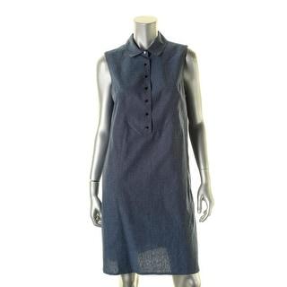 Tahari ASL Womens T-Shirt Dress Denim Button - 10