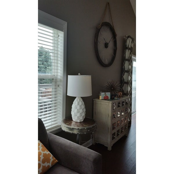 Elegant Designs White Resin Table Lamp W/ Fabric Shade   Free Shipping  Today   Overstock.com   20429364