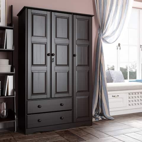 Copper Grove Caddo Grand Solid Wood 3-door Wardrobe - 45.75 inch W x 72 inch H x 20.75 inch D