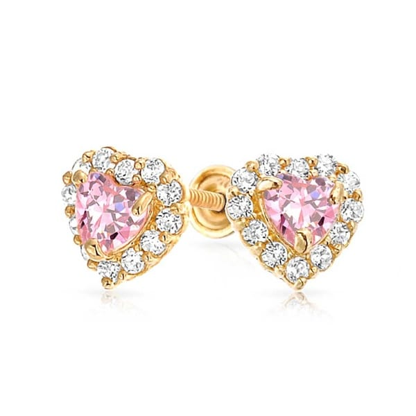 Bling Jewelry 14k Gold Pink Cz Heart Baby Back Stud Earrings